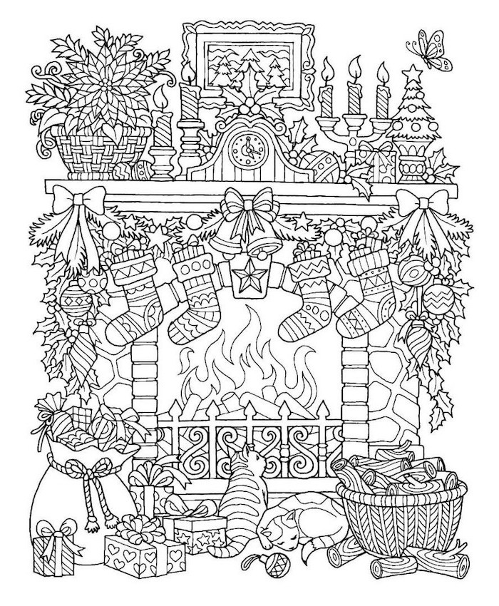 white background of fireplace covered with wreaths garlands candles stockings christmas coloring pages for kids two cats in front of it