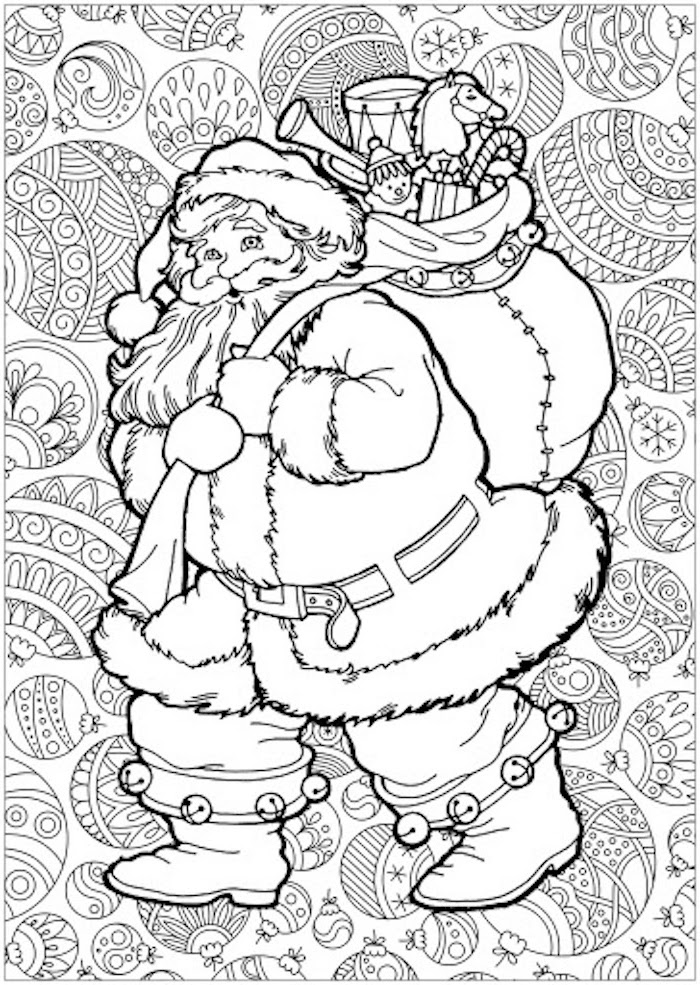 white background of santa clause drawing carrying bag full of toys presents free printable coloring pages for kids abstract baubles in the background