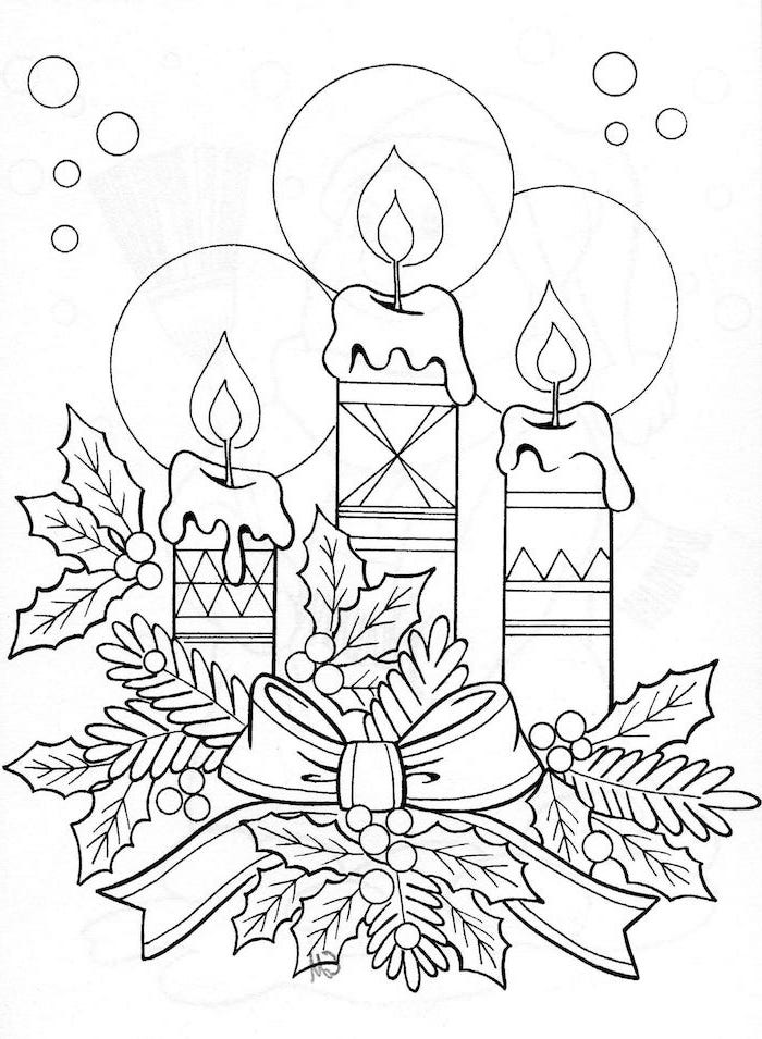 white background with drawing of three candles with ribbon and mistletoe free coloring pages for kids