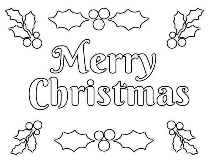 white background with merry christmas written in white with black outline free printable christmas coloring pages mistletoe around it