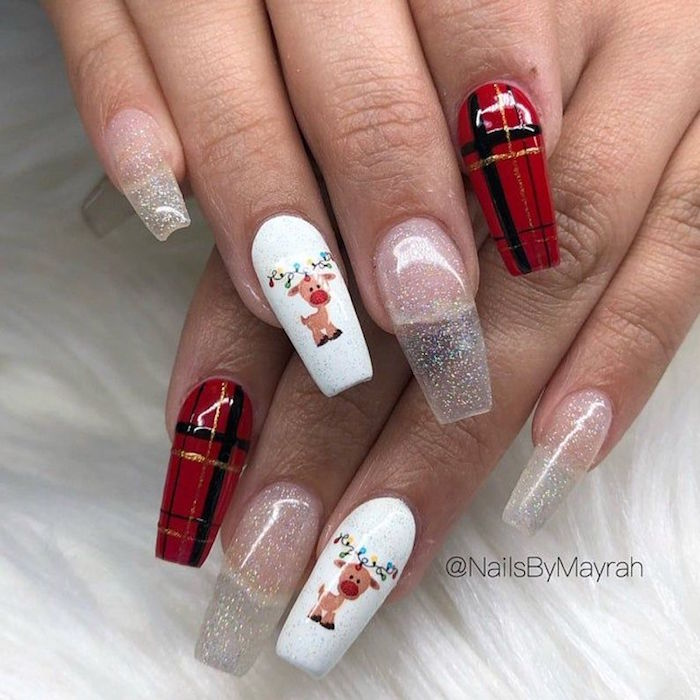 white red and silver glitter nail polish on coffin nails christmas acrylic nails plaid decorations rudolph red nosed reindeer decoration
