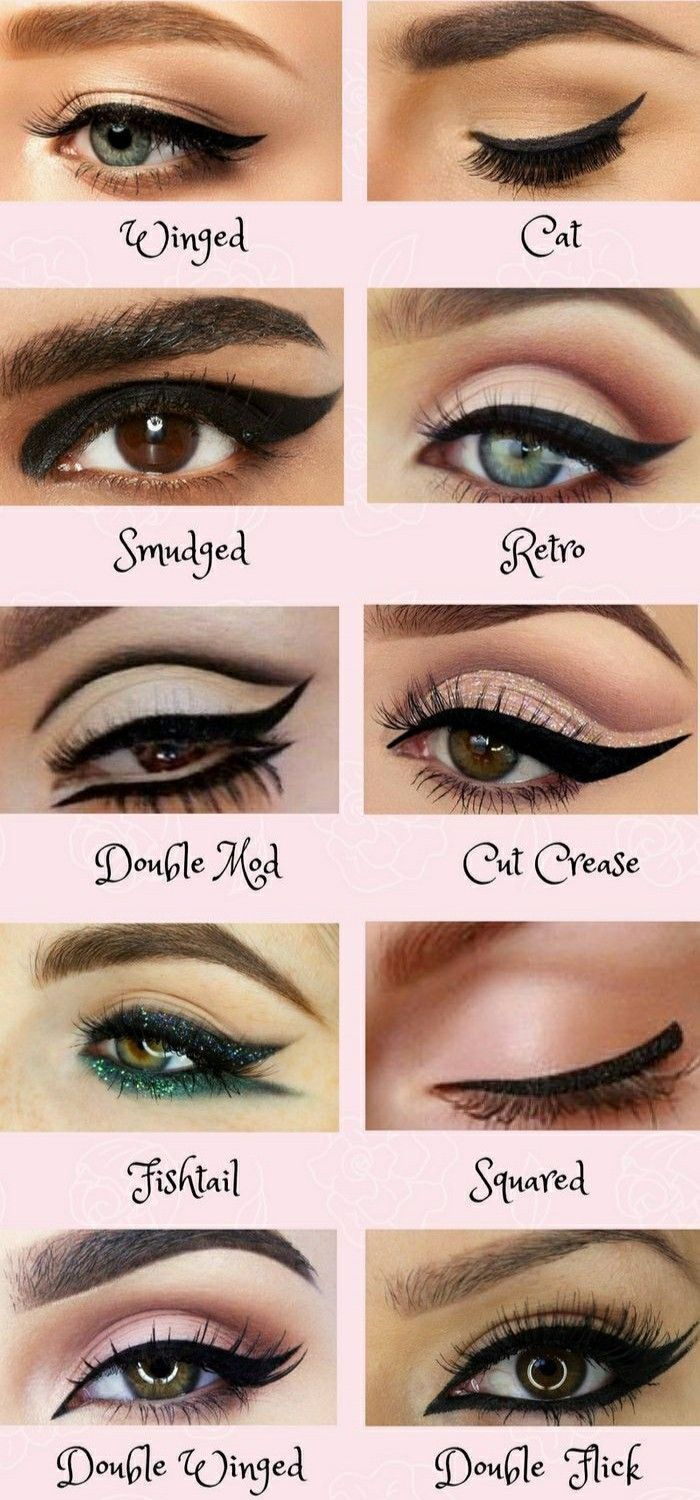 winged eyeliner tutorial photo collage of close ups of different eyes with different kind of eyeliner with their names