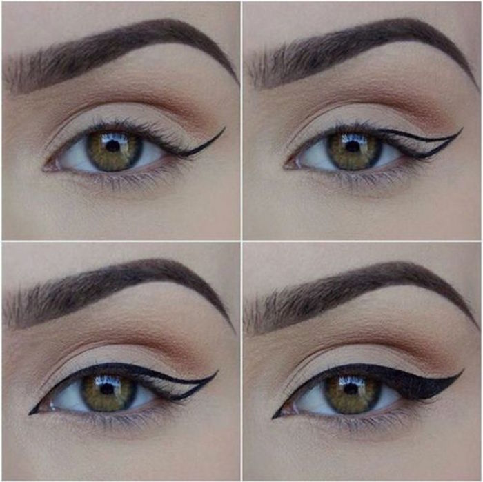 woman with green eyes thick eyebrows eyeliner for almond eyes step by step tutorial in four steps