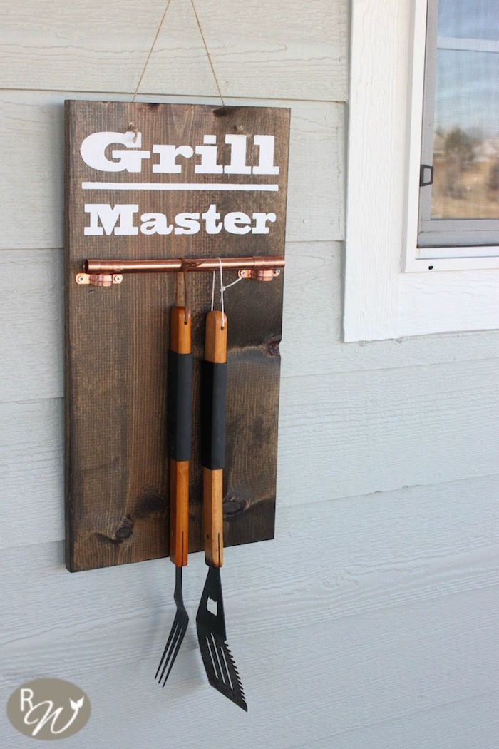 wooden board with railing for grill tools gifts for dad who has everything grill master written on it