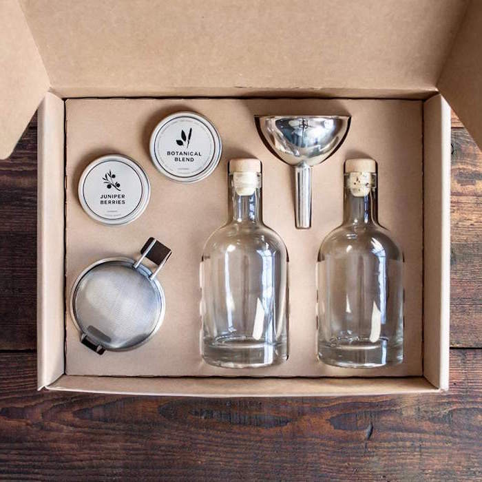 wooden surface christmas gift ideas for dad carton box placed on it with homemade gin kit