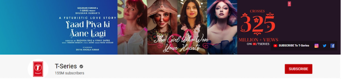 youtube channels front page of the channel t series with hundred million fifty five subscribers