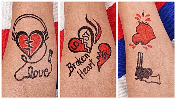 black and red tattoos of broken hearts crying heart tattoo three side by side photos of different tattoos