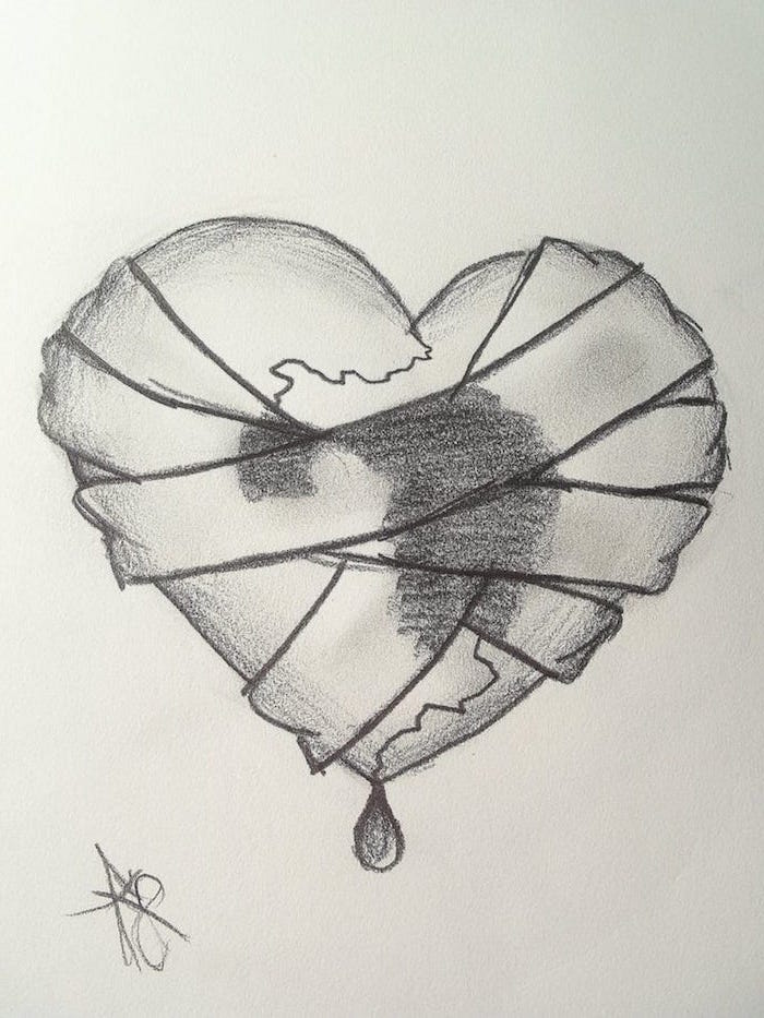 black and white drawing of heart held together with bandages crying heart tattoo bleeding