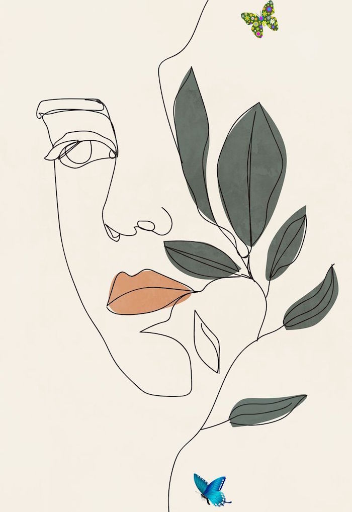 black silhouette of female face with orange lips 4k minimalist wallpaper green leaves on the side