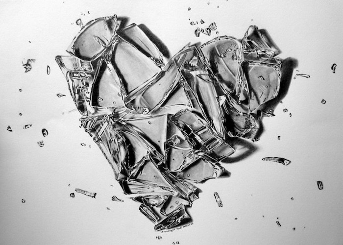 broken heart tattoo black and white realistic drawing of heart made of glass shattered on white background