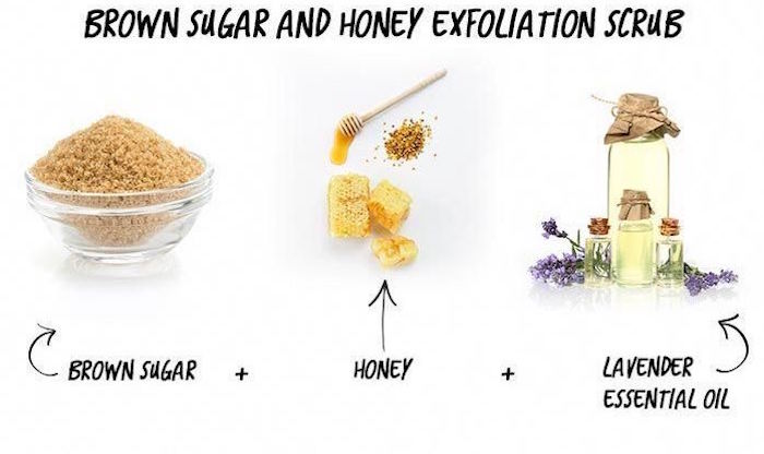 brown sugar honey lavender essential oil three ingredient lip scrub at home photographed on white background