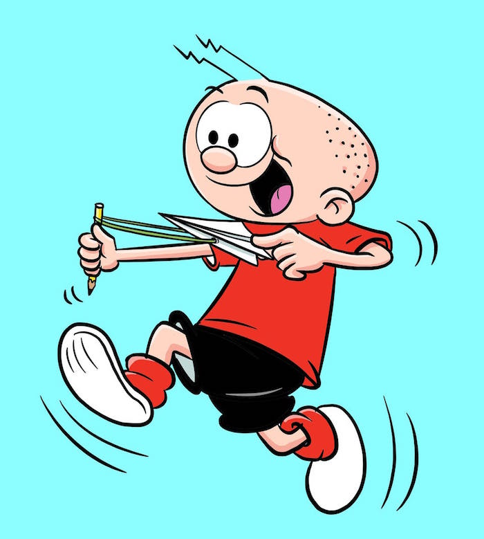 cartoon drawing of boy running around simple paper airplane holding a pencil with plane tied to it with a rubber band