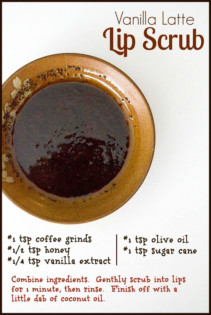 cofee grinds honey vanilla extract olive oil sugar cane how to make lip scrub vanilla latte