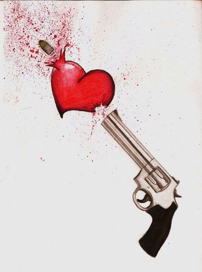 colored drawing of gun shooting a bullet through a red heart heart finger tattoo white background