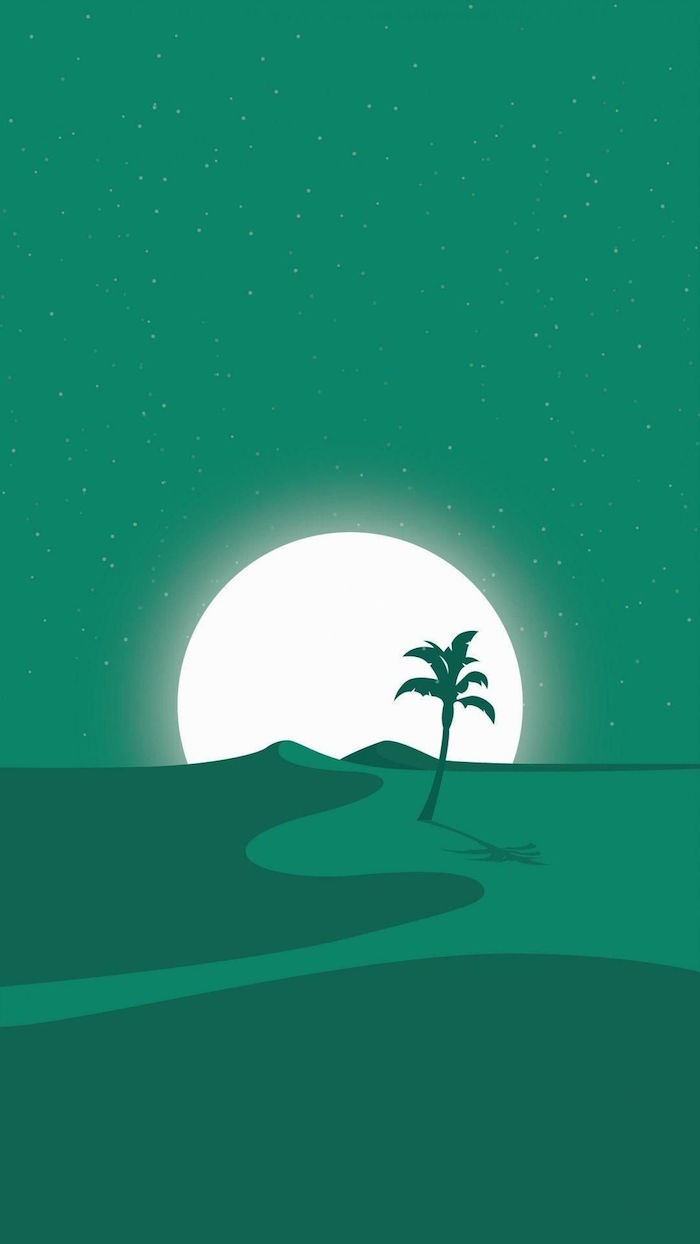 digital drawing of dessert with palm tree full moon behind it simple desktop backgrounds green aesthetic
