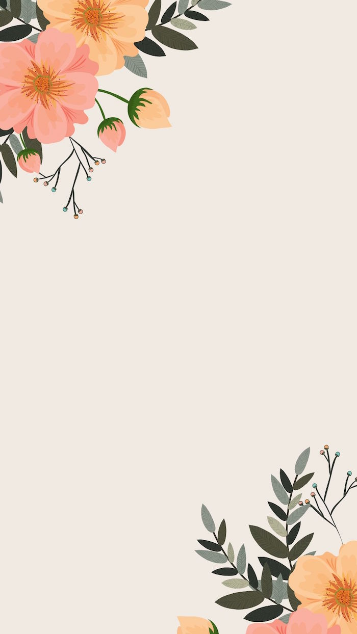 digital drawing of flowers in orange and pink in two corners of the screen minimalist aesthetic wallpaper white background