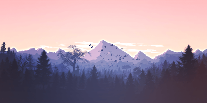 digital drawing of mountain range with sunset sky mminimalist desktop wallpaper forest at the forefront birds flying in the sky