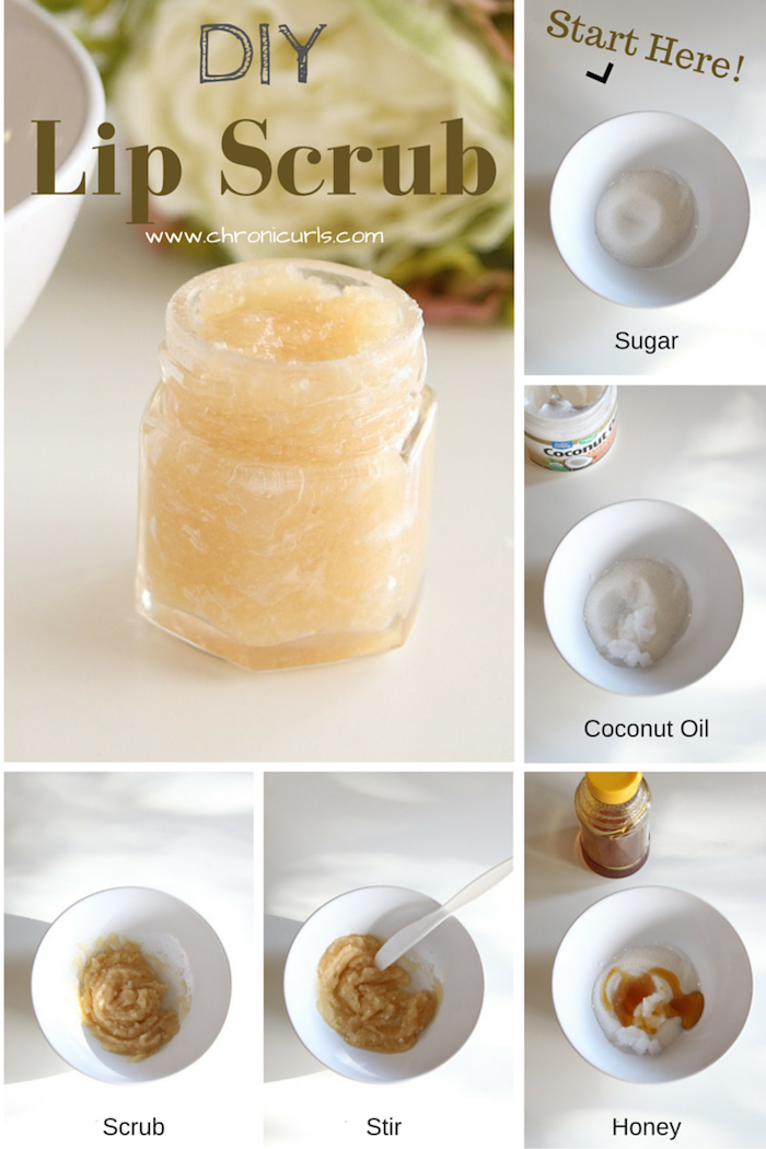 diy lip scrub with sugar honey coconut oil how to make lip scrub photo collage of step by step tutorial