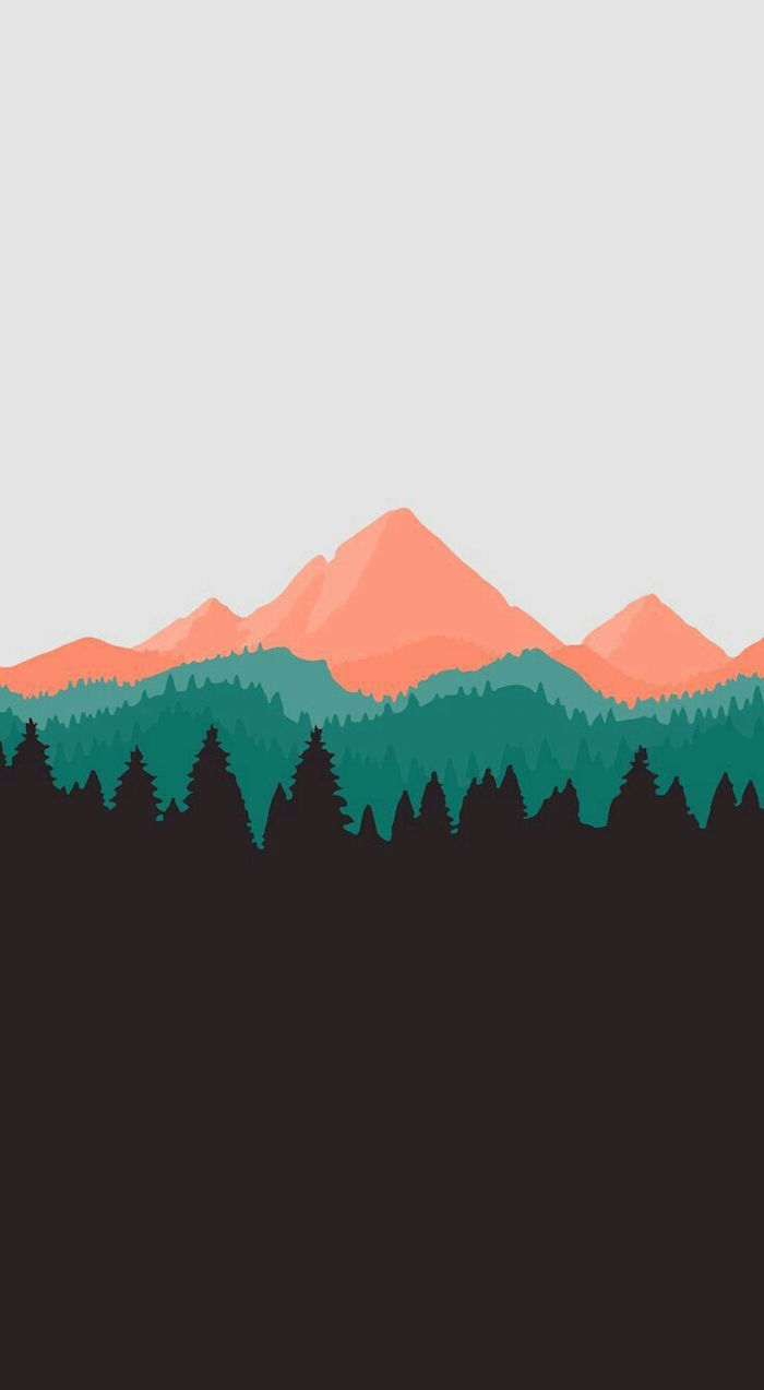 drawing of a mountain range and forest with gradient colors simple phone backgrounds white orange green black
