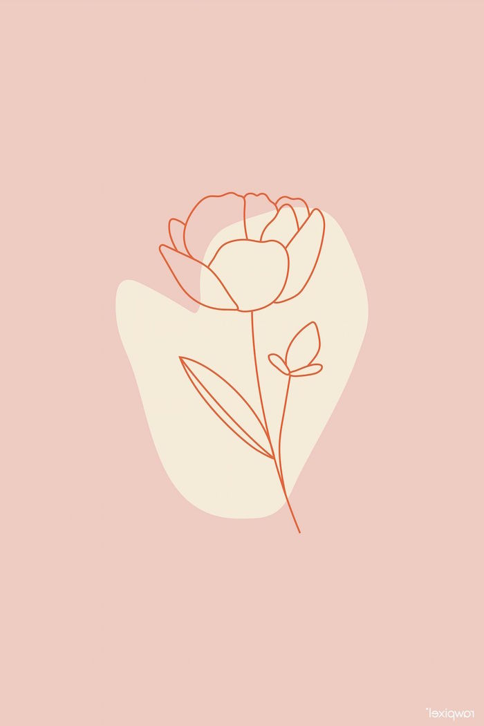 drawing of a silhouette of a rose with orange outline minimalist aesthetic wallpaper pink background