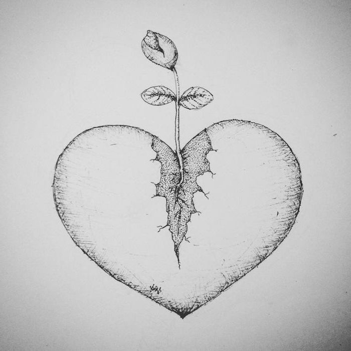 drawing of heart with rose growing out of it small heart tattoos black outlined drawing with shadows on white background