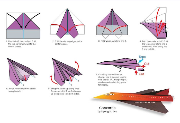 drawing of step by step diy tutorial drawn in different colors how to make a paper airplane in seven steps
