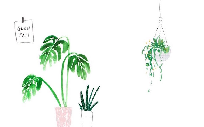 drawing of three potted plants in green watercolor on white background mminimalist desktop wallpaper grow tall written on the side