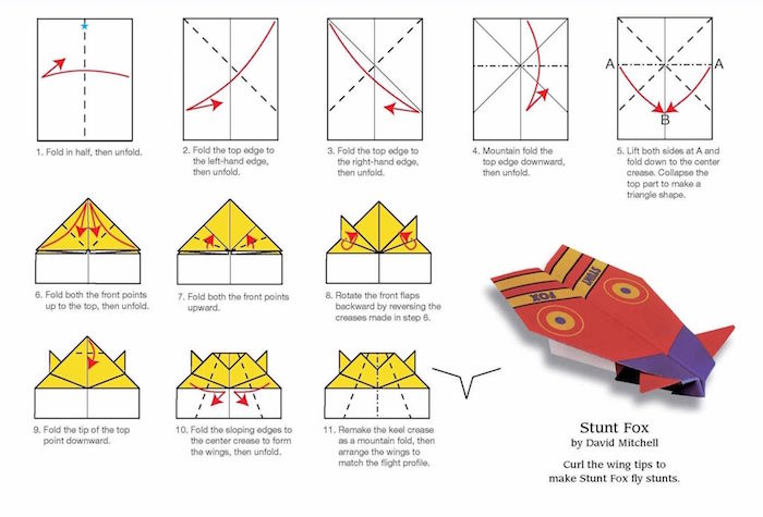 eleven step diy tutorial step by step how to fold a paper airplane stunt fox plane drawing of the tutorial