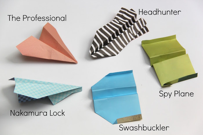 five different types of airplanes made with paper in different colors how to draw a paper airplane arranged on white surface