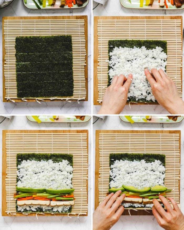 four step diy tutorial for rolling vegan sushi rolls how to cook sushi rice with avocado cucumber tofu rice