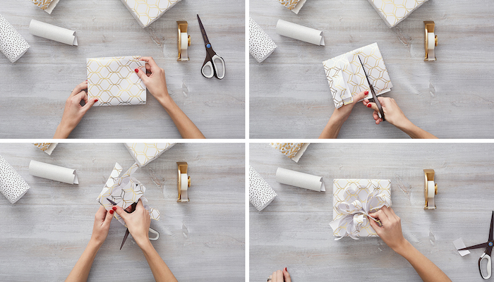gift wrapping ideas four step tutorial on how to make a messy ribbon from white and gold wrapping paper