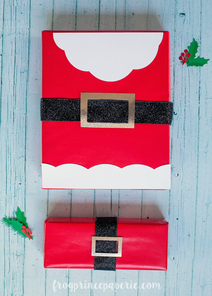 gifts wrapped as santas costume in red wrapping paper gift packing ideas black glitter ribbon