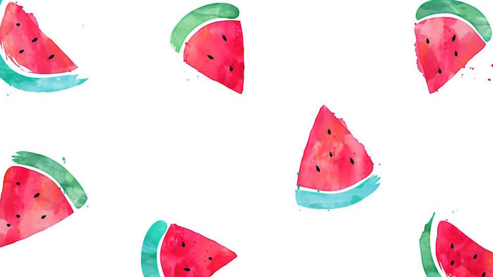 green and red watercolor drawing of slices of watermelon minimalist wallpaper white background