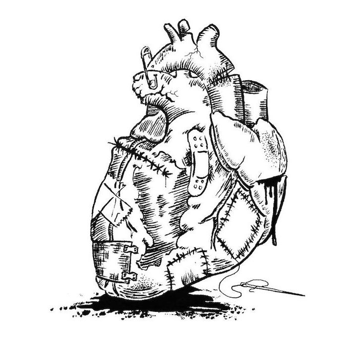 heart tattoo designs drawing of anatomically correct heart stitched up with bandages and safety pins