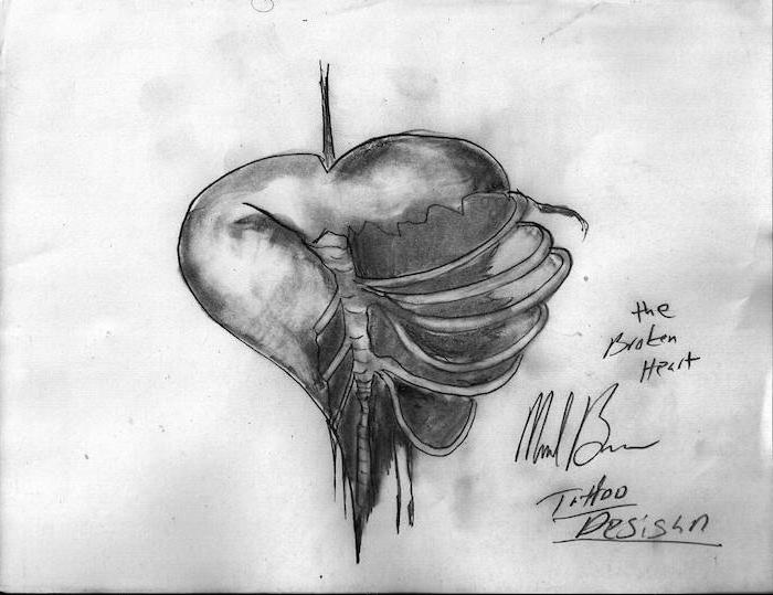 heart tattoos with names black and white drawing of heart with ribcage on one side showing