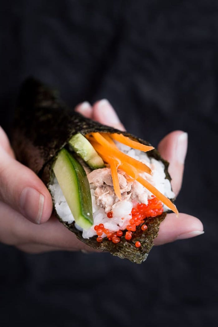 how to cook sushi rice temaki sushi with rice meat carrots cucumber avocado wrapped in nori