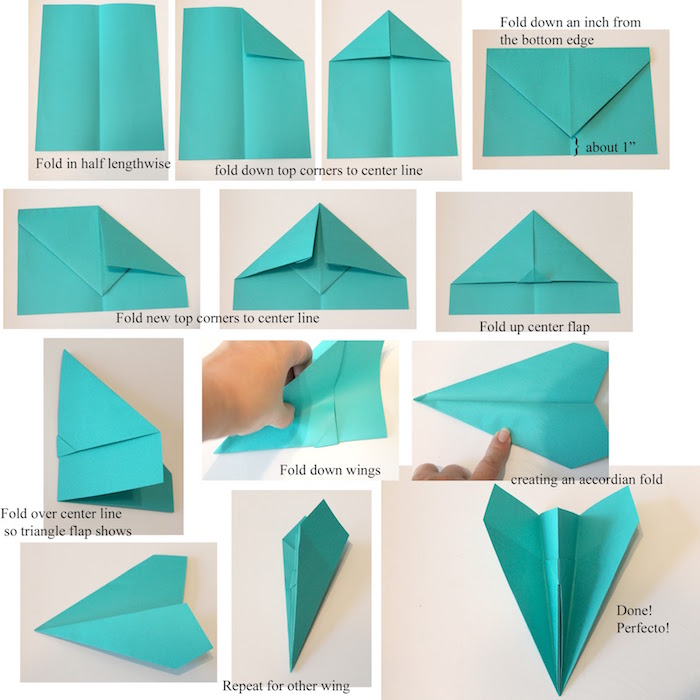 how to draw a paper airplane thirteen step diy tutorial step by step with turquoise paper with explanation