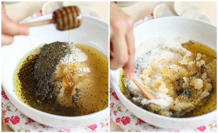 how to exfoliate lips side by side photos of white ceramic bowl filled with ingredients honey sugar green tea