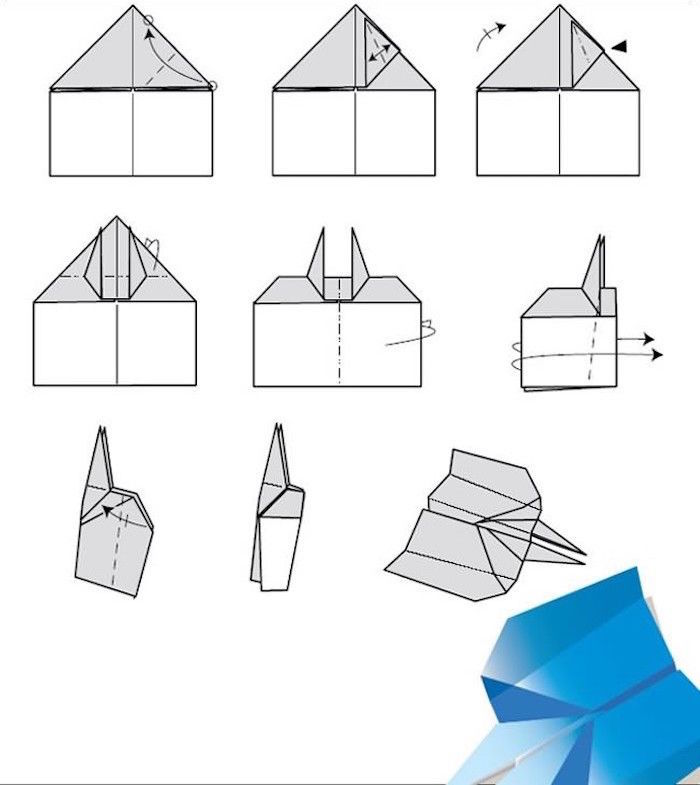 how to fold a paper airplane nine step diy tutorial step by step drawing of grey and black steps on white background