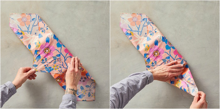 how to gift wrap a box two side by side photos of steps on wrapping a gift with fabric with floral print