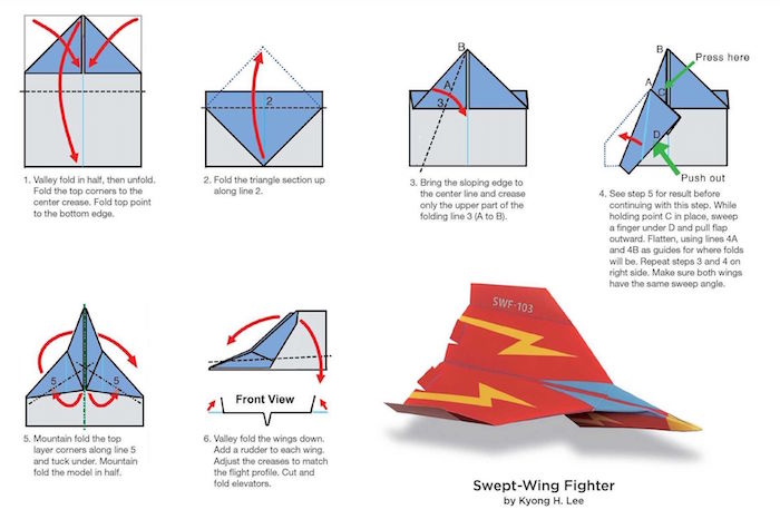 how to make a paper airplane step by step diy tutorial for swept wing fighter drawing on white background