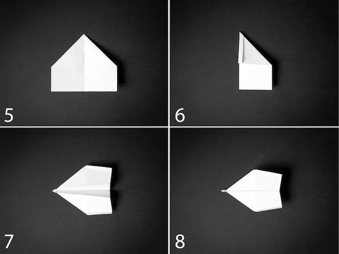 how to make a paper airplane that flies far photo collage of step by step diy tutorial white piece of paper on black background