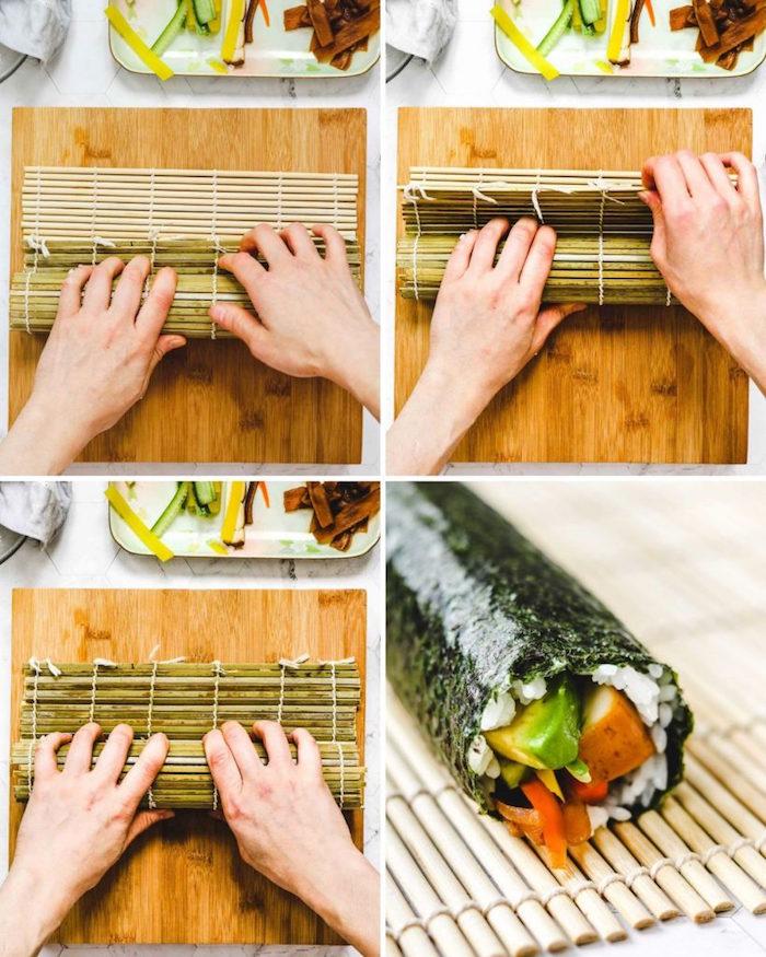 how to make sushi at home bamboo mat with rice avocado cucumber tofu vegan sushi rolls