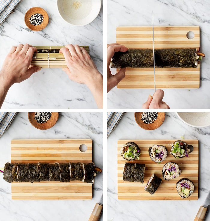 how to roll sushi side by side four step tutorial placed on wooden cutting board placed on marble surface