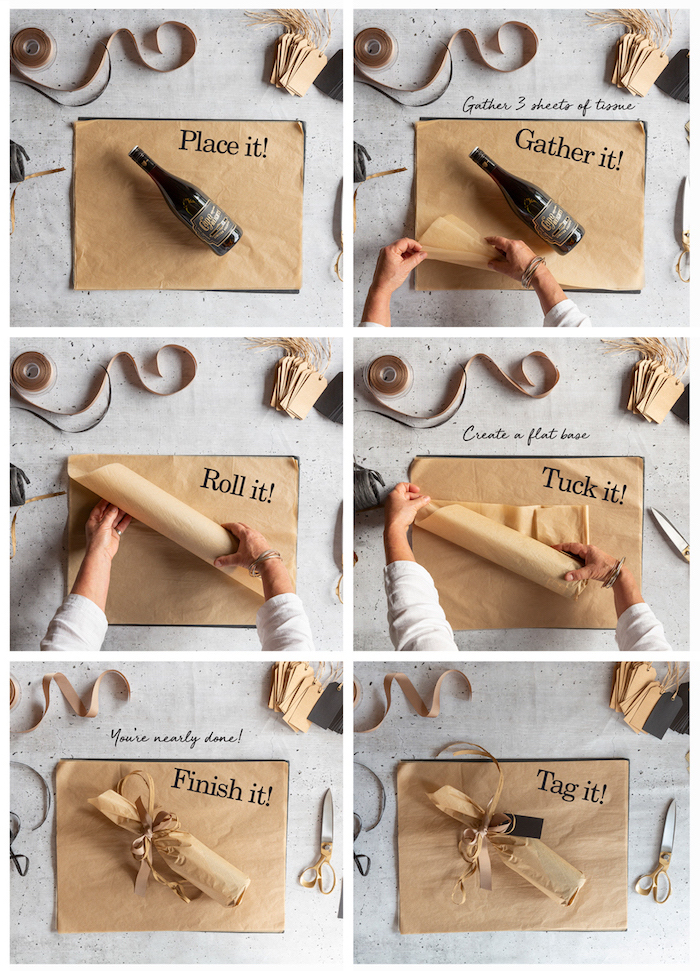 how to wrap a gift how to wrap a bottle photo collage step by step diy tutorial wrapped with brown paper and brown ribbons gathered at the top