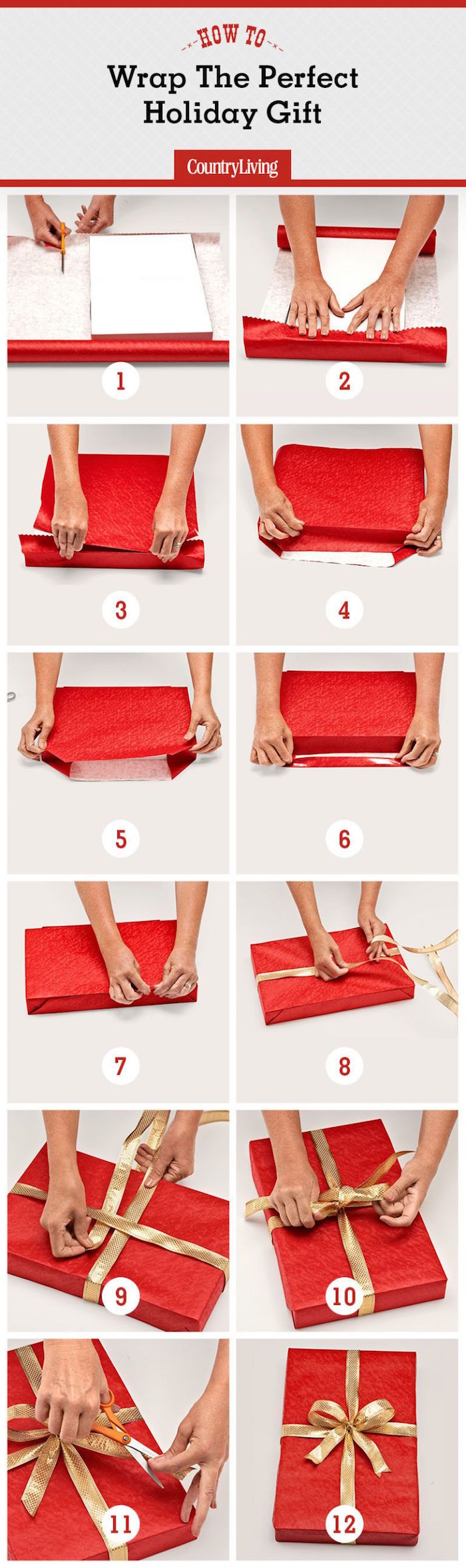 how to wrap a present in twelve steps photo collage of step by step tutorial with red wrapping paper and gold bow