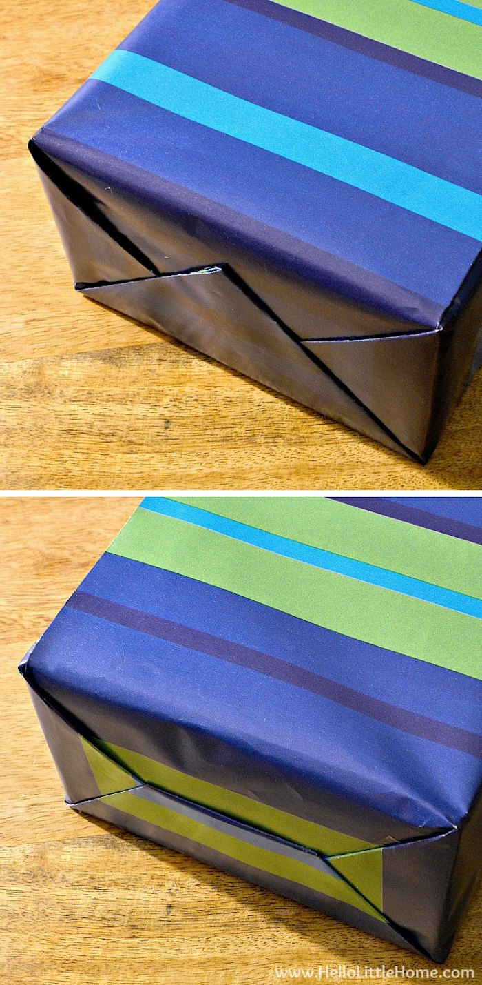 photo collage christmas gift wrapping ideas made with wrapping paper in blue and green placed on wooden surface