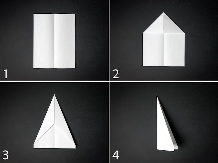photo collage of step by step diy tutorial how to make a paper airplane that flies far white piece of paper being folded into a plane