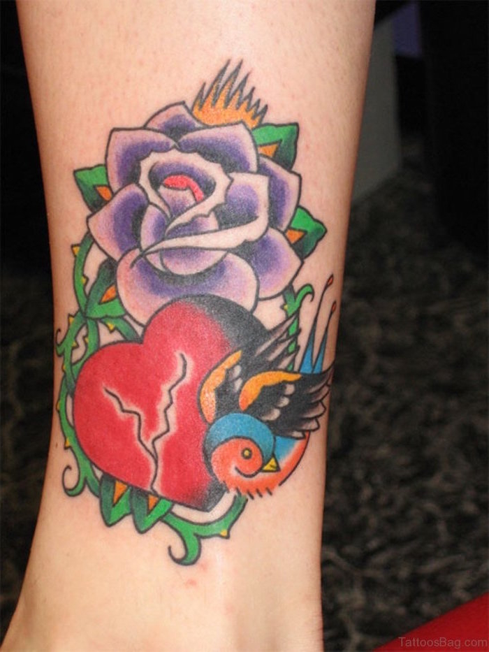 purple rose with thorns above broked red and black heart bird on the side heart tattoo designs side of leg tattoo