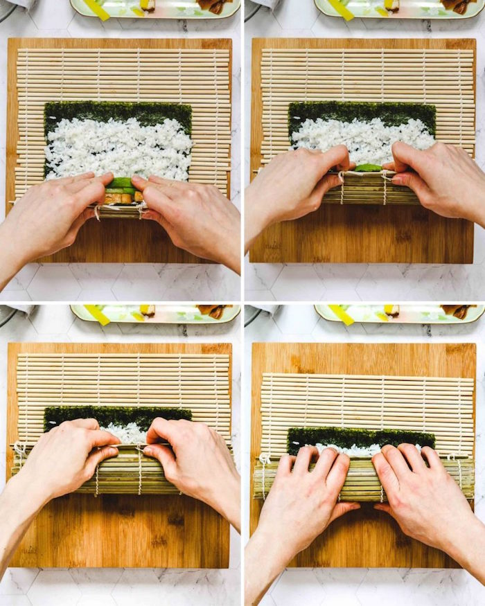 rolling vegan sushi rolls with tofu white rice cucumbers avocado how to cook sushi rice on bamboo mat